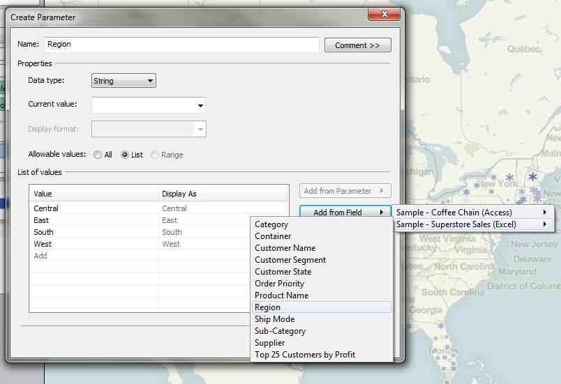 Create Region Parameter